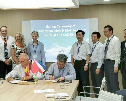 CAE, NLR and DNW signed a MoA Extension and a Project MoU at the Paris Air Show