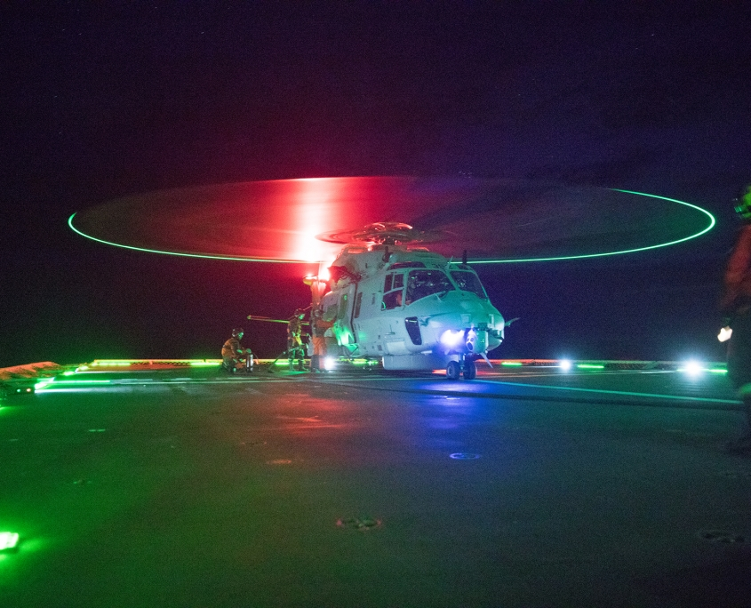 Norwegian NH90 navy helicopter at flight deck