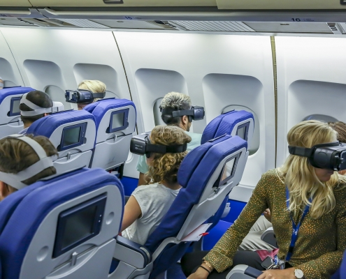 Virtual reality headsets in KLM cabin simulator
